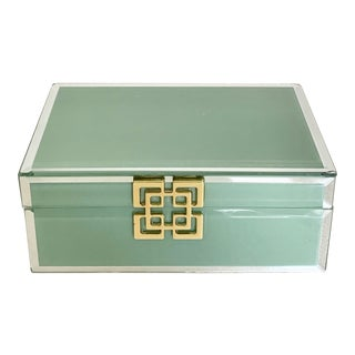 Sage Glass Covered Box With Gilt Closure For Sale