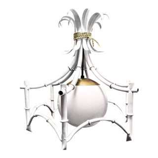 1970s Vintage White Lacquer and Gold Accent Palm Beach Regency Faux Bamboo Pagoda 1 Light Chandelier For Sale