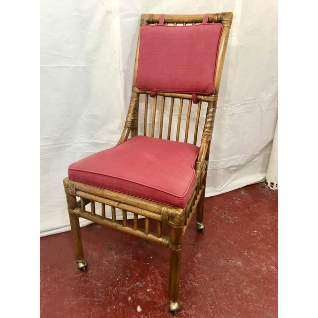 Brown Bamboo Dining Chairs Set of 8 For Sale - Image 8 of 13