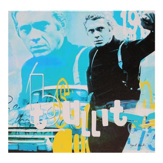 """Steve McQueen - Bullit"" Screenprint on Canvas by Dganit Blechner For Sale"