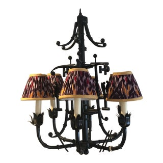 Vintage Faux Bamboo 5-Light Chandelier With Ikat Lampshades