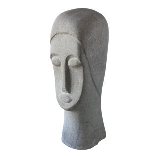 Carved Stone Modern Bust Statue For Sale