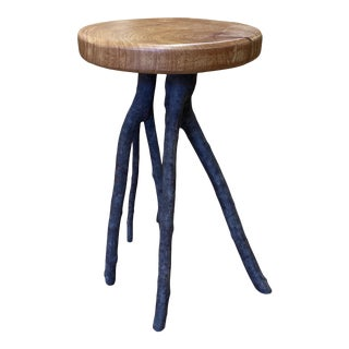 Late 20th Century Custom Design Rustic Wood Table + Branch Legs For Sale