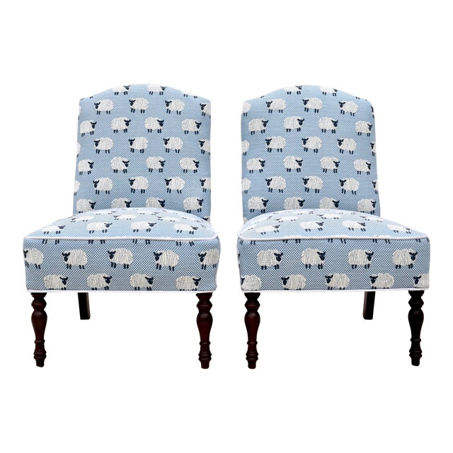 """Scalamandre, """" Ewe Too in Blue"""" Petite Antique Slipper Chairs For Sale"""