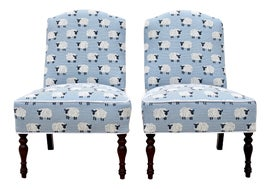 Image of Blue Slipper Chairs