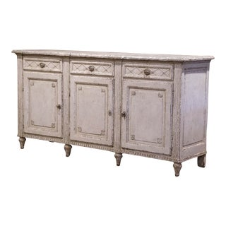 19th Century French Louis XVI Painted Three-Door Buffet With Faux Marble Top For Sale