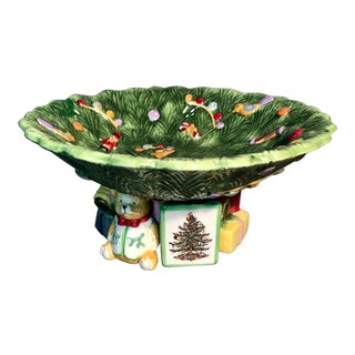 1940s Vintage Spode Majolica Christmas Tree Pedestal Bowl Compote Prestige Collection Teddy Bear & Gift Boxes For Sale