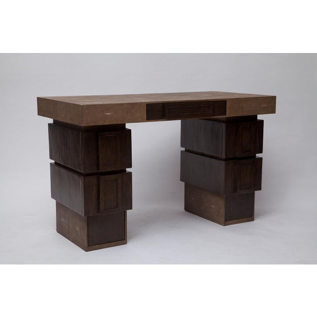 Contemporary Shagreen and Wenge Desk by R & Y Augousti For Sale - Image 3 of 11