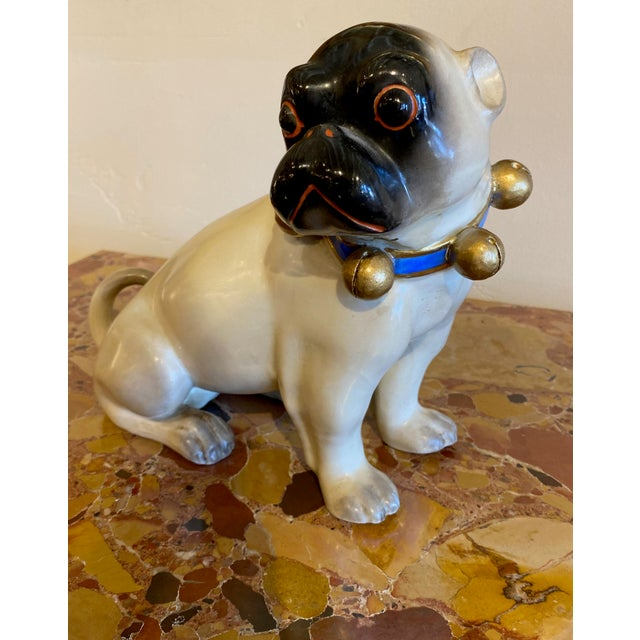 Figurative Figurative Standing German Pug With Bell Collar For Sale - Image 3 of 9