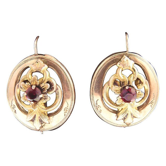 Etching Victorian Garnet & 14k Gold Floral Earrings For Sale - Image 7 of 7
