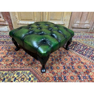 Vintage Mid-Century English Dark Green Leather Chesterfield Ottoman Footstool Preview