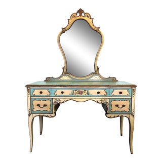 Venetian Painted Vanity Dressing Table With Mirror For Sale