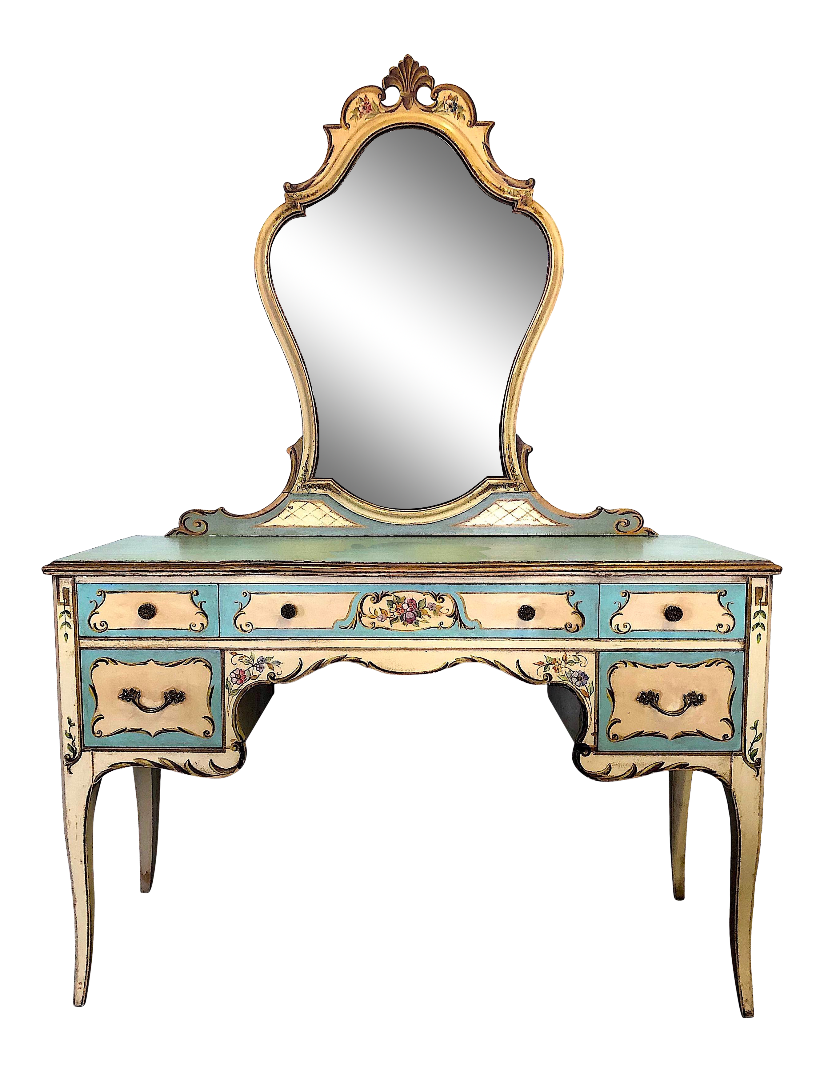 Mirrored Console Dressing Table Desk 6 Drawer Vintage Venetian Glass Furniture