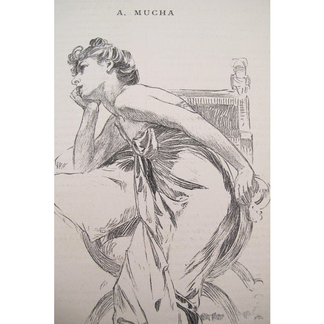 Original 1899 Alphonse Mucha Illustration, Reverie For Sale - Image 4 of 4