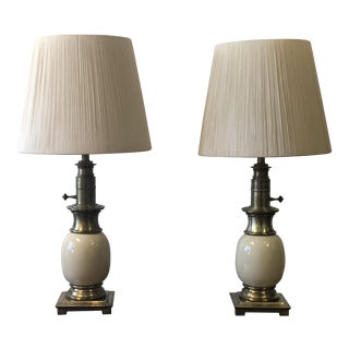 Hollywood Regency Ivory & Brass Stiffel Lamps - a Pair