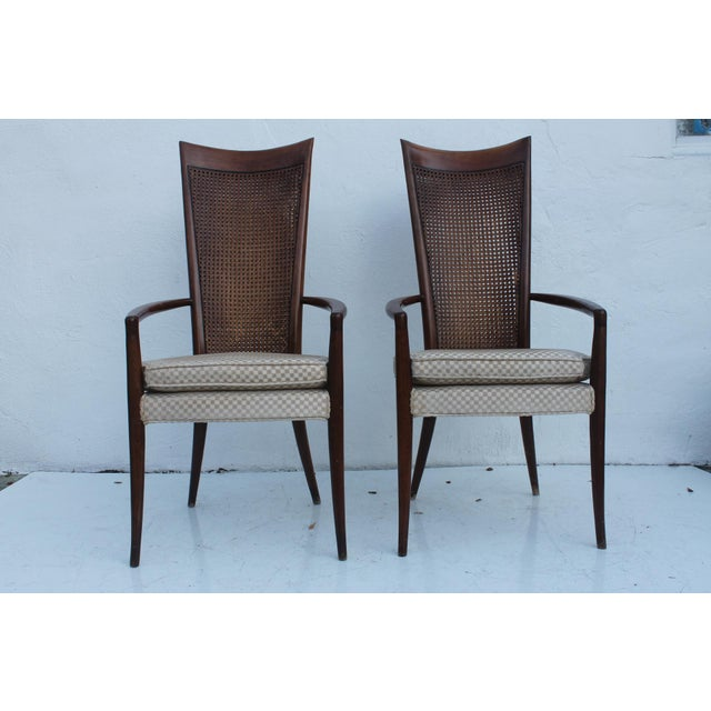 Brown Robsjohn Gibbins Style Teak Cane Tall Back Dining Chairs Set of 6 For Sale - Image 8 of 11