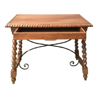 19th Spanish Farm Table With Iron Stretchers, Hand-Carved Top and Drawer For Sale