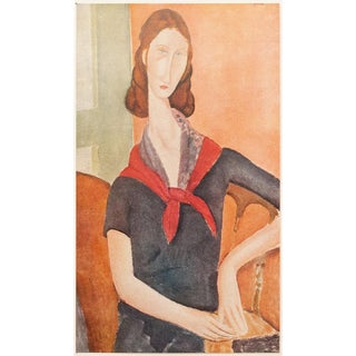 1940s Vintage De Madame Hebuterne Portait Lithographic Print by Amedeo Modigliani For Sale