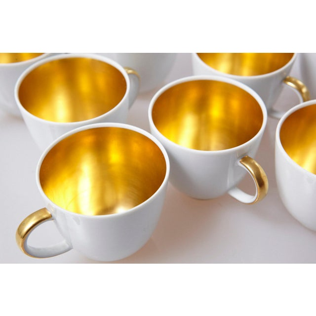 Set of 10 White and Gold Fürstenberg Porcelain Demitasse Cups & Saucers, Germany For Sale - Image 11 of 13