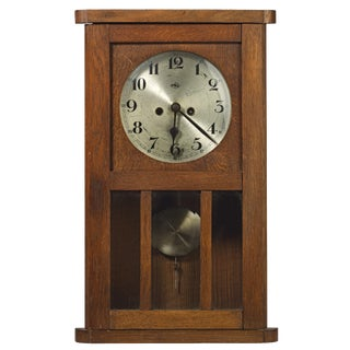 Antique German Craftsman or Mission Style Kitchen Clock For Sale
