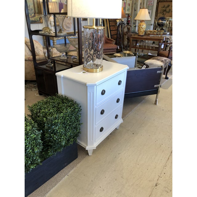 Wood White Painted Chest of Drawers Nightstand For Sale - Image 7 of 10