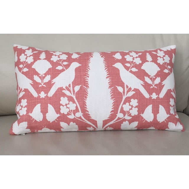 Contemporary Schumacher Chenonceau Lumbar Pillow in Coral Pillow Cover, 14x24 For Sale - Image 3 of 6