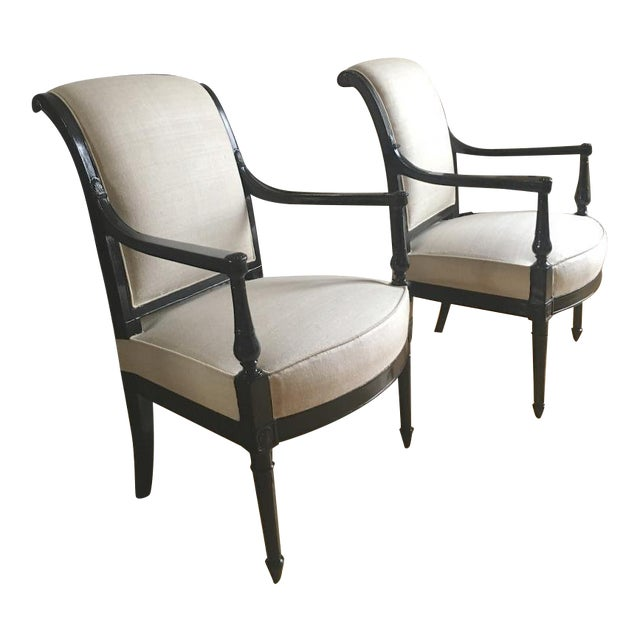 Maison Jansen Pair of Neo Classic Pair of Chic Blackened Wood For Sale