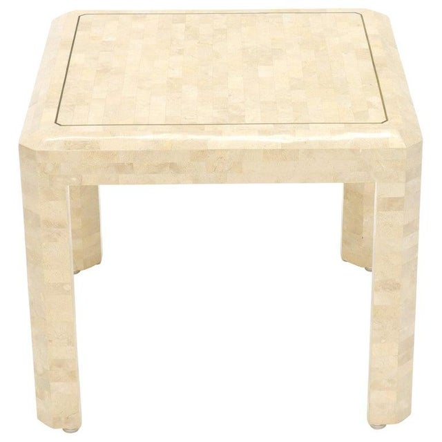 Tesselated Stone Brass Inlay Square Side End Table For Sale - Image 12 of 12