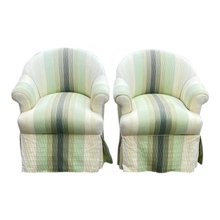 Contemporary R. Jones of Dallas Striped Club Chair - a Pair For Sale