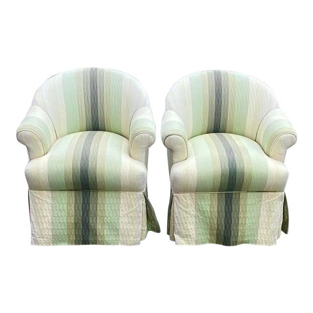 Contemporary R. Jones of Dallas Striped Club Chair - a Pair For Sale