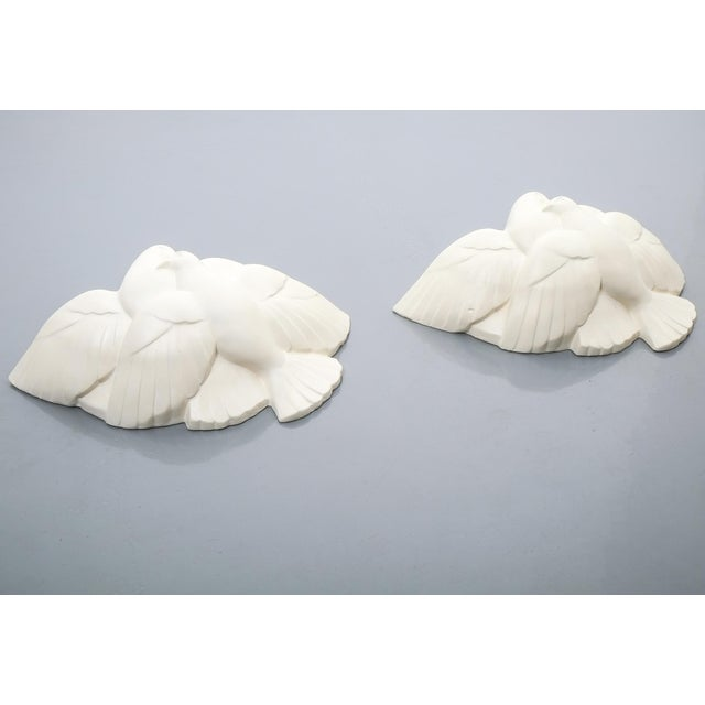 1930s Pair of Art Deco White Plaster Dove Sconces Wall Lamps, France Circa 1935 For Sale - Image 5 of 10