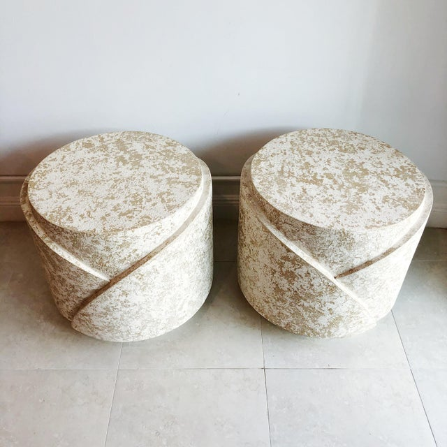 Mid-Century Modern Vintage Sculptural Textured Plaster Cylindrical Pedestal Tables - a Pair For Sale - Image 3 of 9