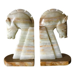 Vintage Solid Onyx Bookends - a Pair For Sale
