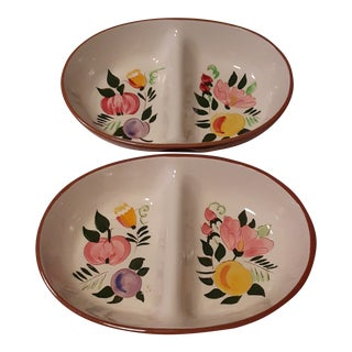 """Stangl Two-Sided """"Fruit and Flowers"""" Serving Bowls For Sale"""