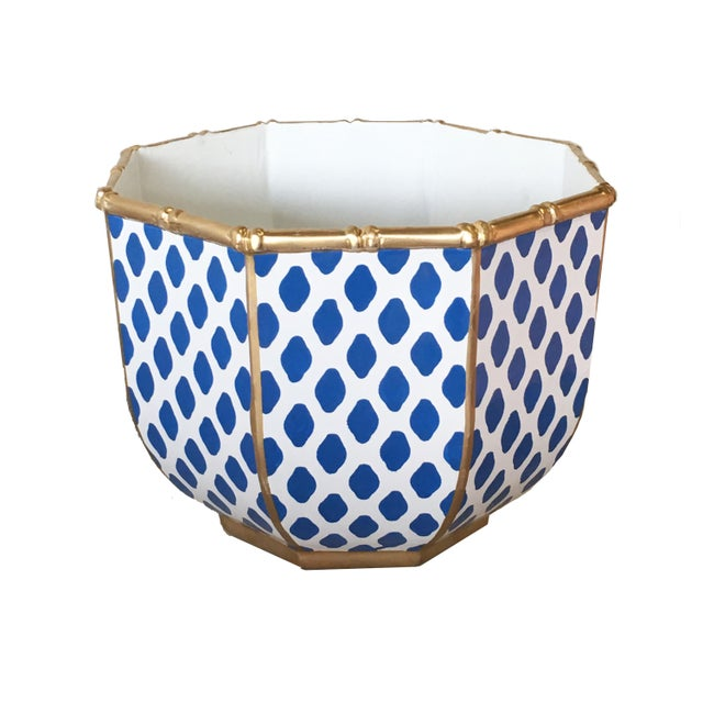 Chippendale Bamboo Bowl in Navy Parsi For Sale - Image 3 of 3