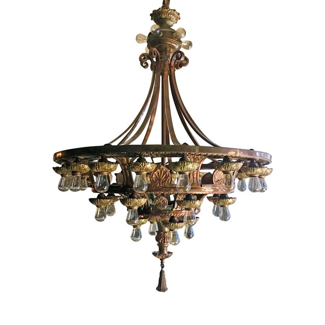 Metal Late 20th Century Beaux Arts Style Chandelier For Sale - Image 7 of 7