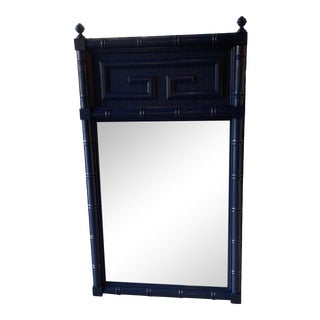 Vintage Navy Blue Lacquered Greek Key Faux Bamboo Wall Mirror For Sale