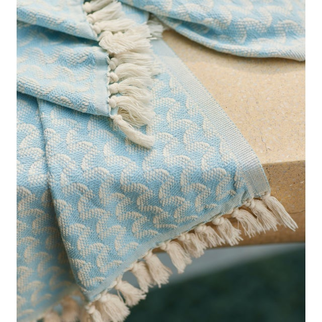 Silent Ripple Handmade Organic Cotton Towel in Powder Blue For Sale - Image 6 of 9