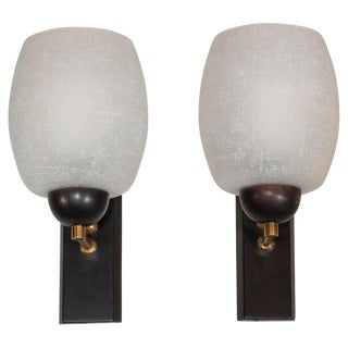 Midcentury Danish Ebonized Walnut, Brass, and Textured Frosted Glass Sconces For Sale