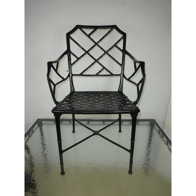 Brown Jordan Calcutta Faux Bamboo Table & Arm Chairs For Sale - Image 9 of 12