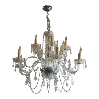Vintage Crystal Chandelier With Two Tiers and 12 Lights For Sale