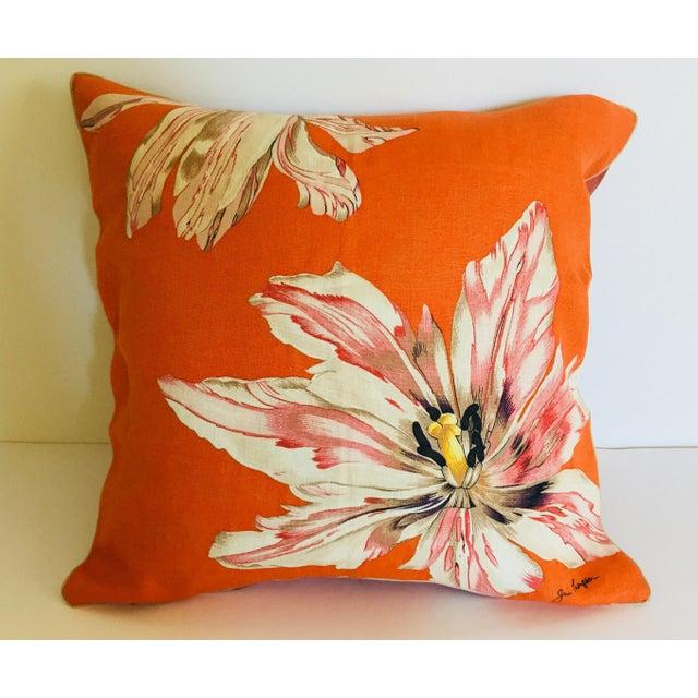 Mid Century Jim Thompson Orange Designer Decorative Pillow With Lotus Flower Print For Sale - Image 9 of 10