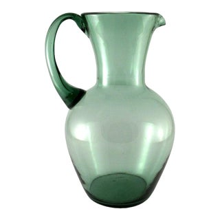 Vintage Hand Blown Sage Green Glass Pitcher For Sale