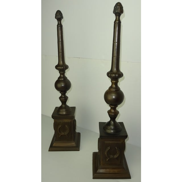 Oversized Bronze Neoclassical Finials - A Pair - Image 7 of 8