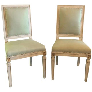 Set of 24 Jansen Inspired Gilt and Paint Decorated Side Chairs For Sale