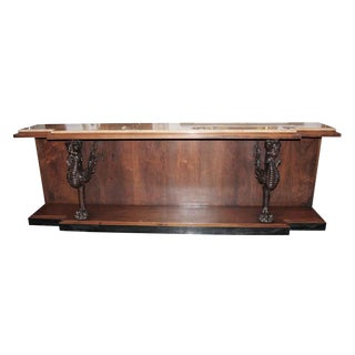 Mid 20th Century Vintage Marble Top Walnut Console Table For Sale