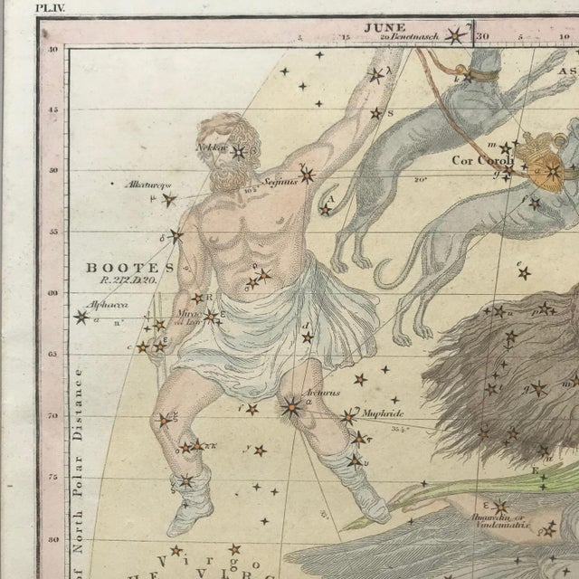 Greige 19th C. Antique Pair of Constellation Chart/ Celestial, Astrological Maps by Burrit 1835 For Sale - Image 8 of 13