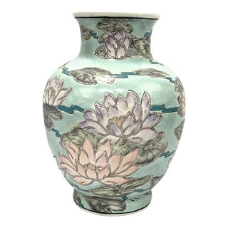 Asian Handpainted Lotus Vase For Sale