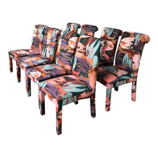 Newly Upholstered Vintage Parsons Chairs Chairs Set of 8 For Sale
