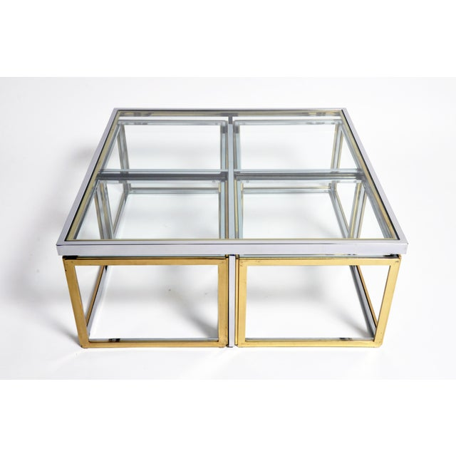 1970s 1970s Five-Piece Brass Table Set With Glass Top For Sale - Image 5 of 13